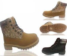 Para mujeres Damas Bota De Combate Botas informales al tobillo con Cordones Suela Agarre De Goma Zapatos Talla