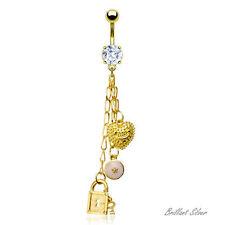 Piercing de Ombligo Colgante de Oro Cadenas Charm Corazón Cierre cristal blanco