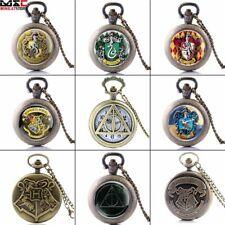 Watch Quartz Pendant Necklace Chain Vintage Antique Harry Potter Design Pocket