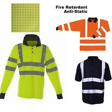 Hi Vis Flame Retardant Anti Static Polo Shirt Reflective  Long Slv Yellow Orange