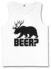 BEER? TANK TOP Deer Bear Fun Hunt Antlers Hunter Alcohol Drinking Alkohol