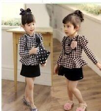 Girls Black Party Peplum Dress Long Sleeve Checked Patteren Necklace 2 4 6 8