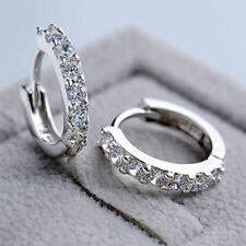 Beautiful 925 Sterling Silver Small Round Crystal Hinged Huggie Hoop Earrings