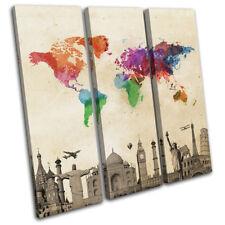 World Landmarks Atlas Maps Flags TREBLE CANVAS WALL ART Picture Print