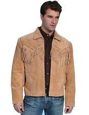 Scully Western Jacket Mens Boar Suede Zip Fringe Bourbon 221-409