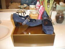 Franco Sarto Fave Blue Suede Shoe $95 Nice Conservative