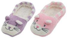 RJM Girls Soft Knitted Cat Slipper Socks with Grippy Soles