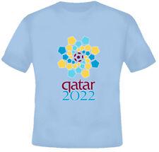 2022 World Cup Football Quatar Soccer Light Blue TShirt