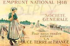 PLAQUE ALU DECO AFFICHE GUERRE WAR WWI EMPRUNT NATIONAL 1918 SOCIETE GENERALE