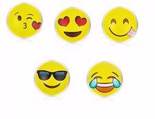 Pair 14mm Dia Emoji LOL Ear Rings Silver Tone Stud Earrings Emojicon 925 ER07