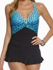 PROFILE GOTTEX Cocoon Halter Black Blue Green Whit Swim Dress Womens 10 12 14 16