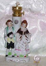 VINTAGE EDWARDIAN MAN WOMAN OIL LAMP JAPAN NO SCONCE