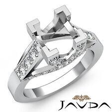 Pave Set Diamond Engagement Ring 14k White Gold Princess Cut Semi Mount 0.80Ct