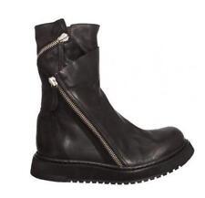 Black US 9 10 10.5  Men's oxford moto zipper fur lined leather mid-calf boots Sz