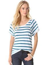 MARC BY MARC JACOBS Linen Stripe Jersey Tee T-Shirt Top  Wicken White $98