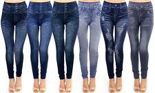 Womens Leggings Jeans Look Printed Jeggings Stretchy Skinny Slim High Waist Sexy