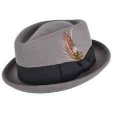 Grey Quality Hand Made 100% Wool Diamond Crown Porkpie Pork Pie Hat 4 Sizes