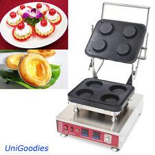 Egg Tarte Pie Waffle Machine Maker Automatic Commercial Dessert 4 Round Shell