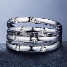 Elegant Women 925 Silver Jewelry Round Cut White Sapphire Wedding Ring Size 6-10