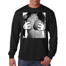 Cartoon Hands Grabbing Boobs Breasts Pin Up Girl Funny Humor Long Sleeve T-Shirt