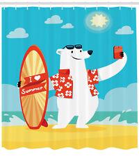 Kids Shower Curtain Polar Bear Selfie Surf Print for Bathroom