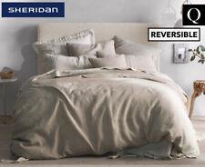 Sheridan Abbotson Stripe Reversible Belgian Linen Quilt Cover Flax