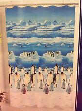 Blue White Ice Penguin Bird Polar Fabric Bath Shower Curtain Bathroom Decor