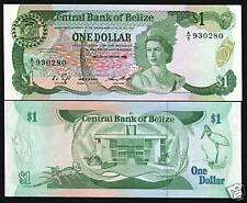 BELIZE $1 P46 1986 BIRD LIZARD QUEEN UNC RARE CARIBBEAN BANK NOTE