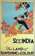Vintage Inde terre de soleil et du tourisme de couleur imprimé A3 Poster