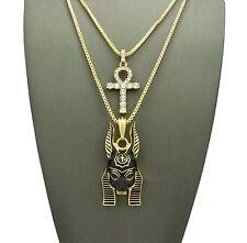 "Hip Hop Iced Out Egyptain Ankh, Anubis Pendant 24"", 30"" Box Chain 2 Necklace Set"