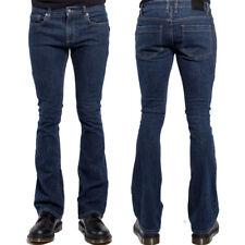 Trash & Vaudeville Rockstar Metal Stretch Mens Flare Jeans Pants Dark Blue 28-38