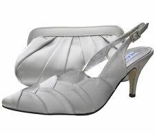 Ladies Wedding Party Heel Shoe Evening Shoes Diamante Silver Satin NEW