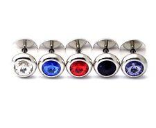 Diamante pendiente para oreja estilo acero inoxidable 8mm cristal pendientes,