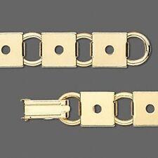 "Sturdy Square Link Gold Plated Steel 7"" Bracelet Base w/ 10mm Flat Pad Settings"