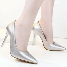 zapatos de salón mujer plata élégant tacón aguja 10 cm perno como piel 8240