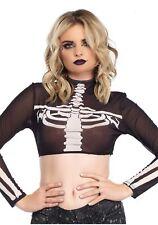 Women's Black Skeleton High Neck Crop Top