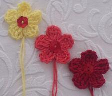 Fleur crochet x6 applique soleil nacre bouton
