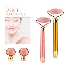 2 in 1 Electric Natural Rose Quartz Jade Roller Facial Anti-aging Massager Bar