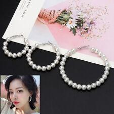 Pendientes de aro redondo elegante perlas círculo de Joyería de Perlas de gran tamaño para mujer
