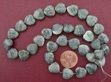 "12mm Heart Gemstone Old Jade Beads 15"" Strand"