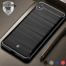 For LG K20 K40 Q60 V40 V50 G7 ThinQ Carbon Fiber Armor Case Silicone Matte Cover