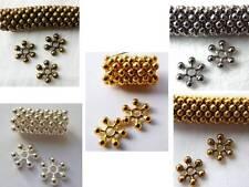 8,5 (mm) Fiocchi di Neve Snowflake Distanziatore Perline in Metallo-Scelta di Colori - 50 / 60pcs
