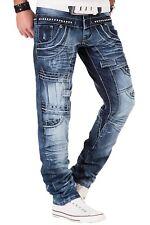 Kosmo Lupo Mens Jeans Light Blue Acid Wash Designer Stud Rivet Tapered Fit KM060
