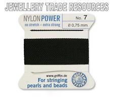 BLACK NYLON POWER SILKY STRING THREAD 0.75mm STRINGING PEARLS & BEADS GRIFFIN 7