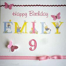 Personalised Girl's birthday card Age 1, 2.3, 4, 5, 6, 7 ,8, 9 / Butterflies