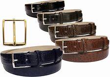 Cintura 3,5 cm in fianco di coccodrillo con fibbia a scelta,nichel,oro