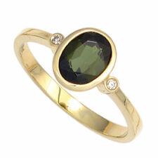 Anillo de Mujer con Verde Turmalina&Diamantes Brillantes, 585 Oro Amarillo Oro