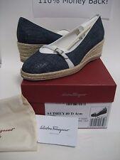 $450 NEW Salvatore Ferragamo Audrey Oxford Blue Wedge Heels Shoes US 7-10.5 BOX