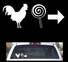 """Funny Window decal (cock sucker) Rooster Lollipop 13.5""""x6"""""""