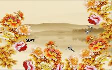3D Flower bloom yellow hill wallpaper Decal Dercor Home Kid Nursery Mural  Home